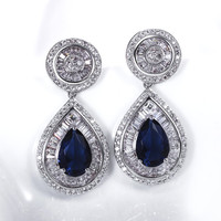 Classic Party Fashion Green and Blue Color Crystal Zircon White stones Wedding Deluxe Dangles Women Luxury Post Earrings Jewelry
