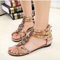 2016 moda feminina sandálias gladiador sandálias mulheres verão diamante frisado sandálias nacionais mulher sandalias Bohemia sapatas de lona