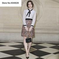 Уличная коллекция 2019 года, роскошная Весенняя женская рубашка с длинными рукавами и оборками, пчела, рубашка с блестками + дизайнерская юбка