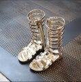 2017 Fashion Girls Shoes Summer Kids Sandals Children's PU Patent Leather Gladiator Design Rome Style Star Decoration