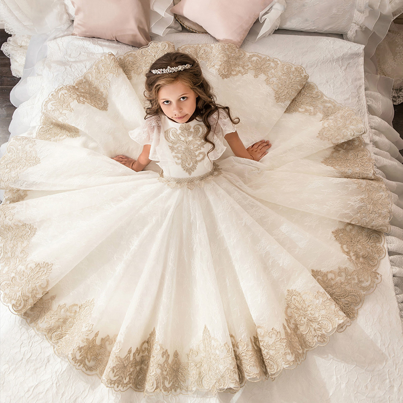 Horn Sleeve Champagne and White Lace First Communion   Dresses   for   Girl   Kids   Flower     Girls     Dress   Party Easter   Dress   For Weddings