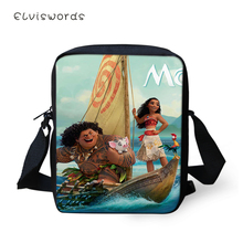 ELVISWORDS Women Messenger Bags Cartoon Moana Girls Prints Pattern Shoulder Kawaii Flaps Handbags Kids Mini Mochila