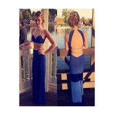 2016 Sexy Zwei Stücke Navy Blue Lange abendkleid Wirh Perlen Backless Abendkleid vestidos de para festa formatura longo