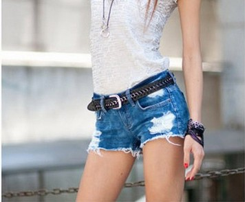 Jean Shorts With Holes - The Else