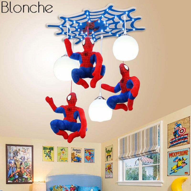 Moderno Luzes Pingente Hanging Lamp Led para As Crianças Do Homem Aranha Loft Quarto das Crianças Quarto Home Decor Iluminação Luminária