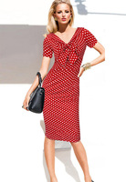15 Autumn New European And American V Neck Bow Wave Point Short Sleeved Dress Big Temperament