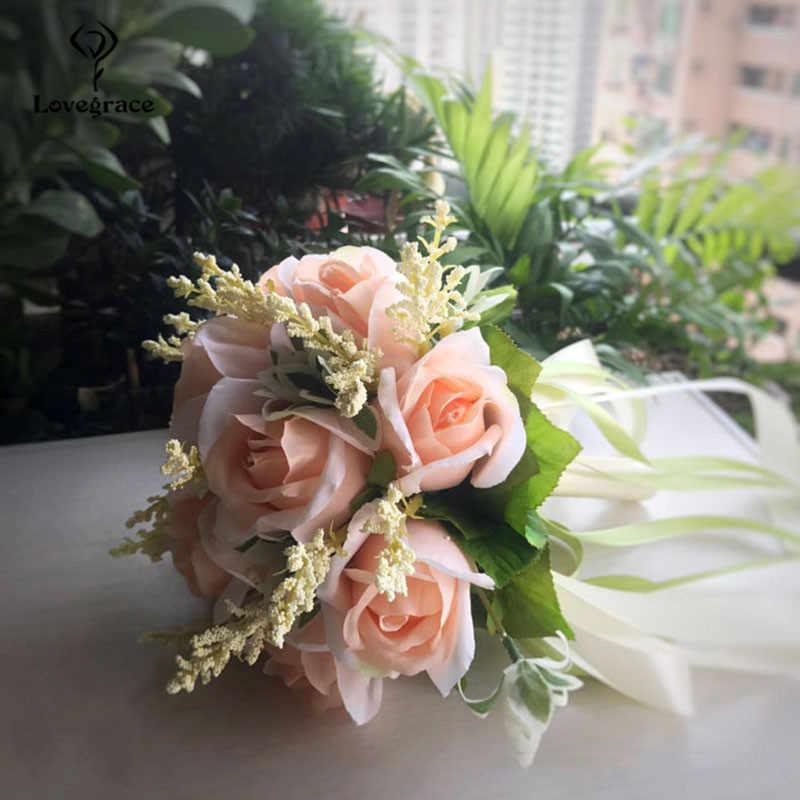 Lovegrace Wedding Bouquet Silk Roses bridesmaids Bridal Bouquets White Pink Artificial Flowers Marriage Supplies Home Decoration