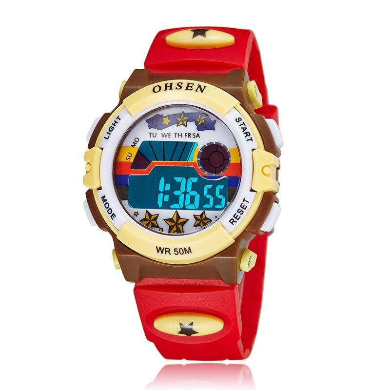Children Sports Watches LED Digital Quartz Watch Outdoor Waterproof Wristwatches Relogio Masculino 1603red