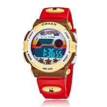 Crianças Esportes Relógios LED Digital Quartz Relógio de Pulso Relogio masculino Ao Ar Livre À Prova D' Água 1603red