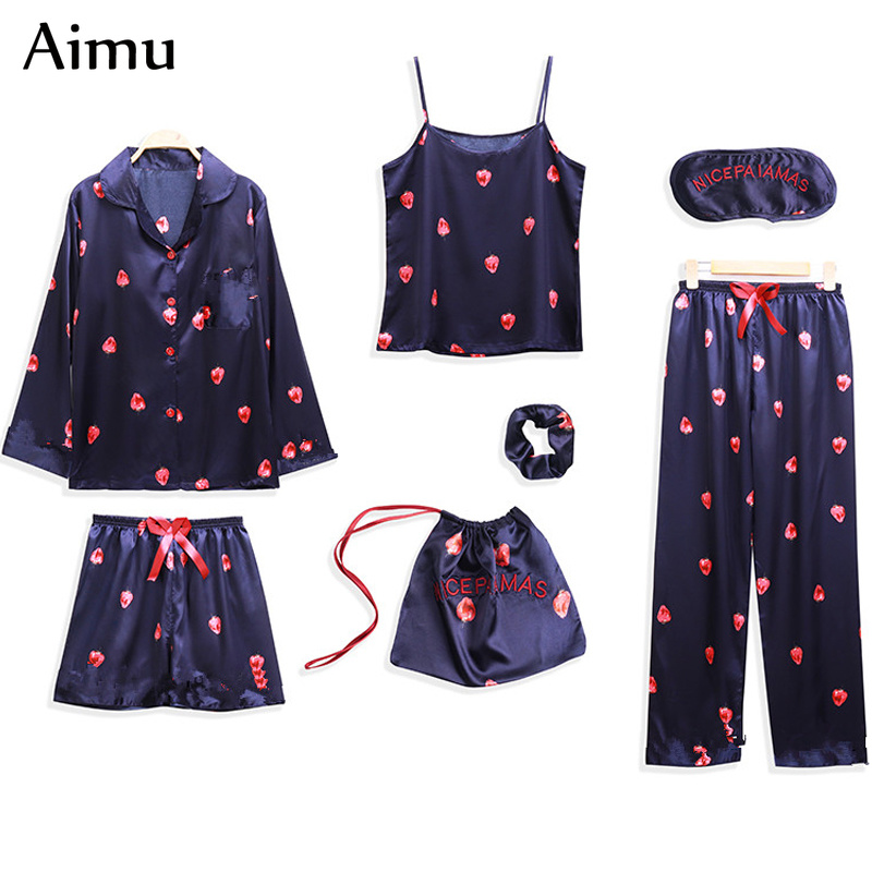 Spring Summer 7 Pcs   Set   Silk Elegant Women   Pajamas   Dot Print   pajama     set   Long Sleeve Top Elastic Waist Pant Full Lounge Sleepwear