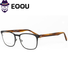 Brand Design Men Glasse Frame Stainless Steel Square Retro Acetate Spectacles Oculos Clear Lens Opticas Eyewear