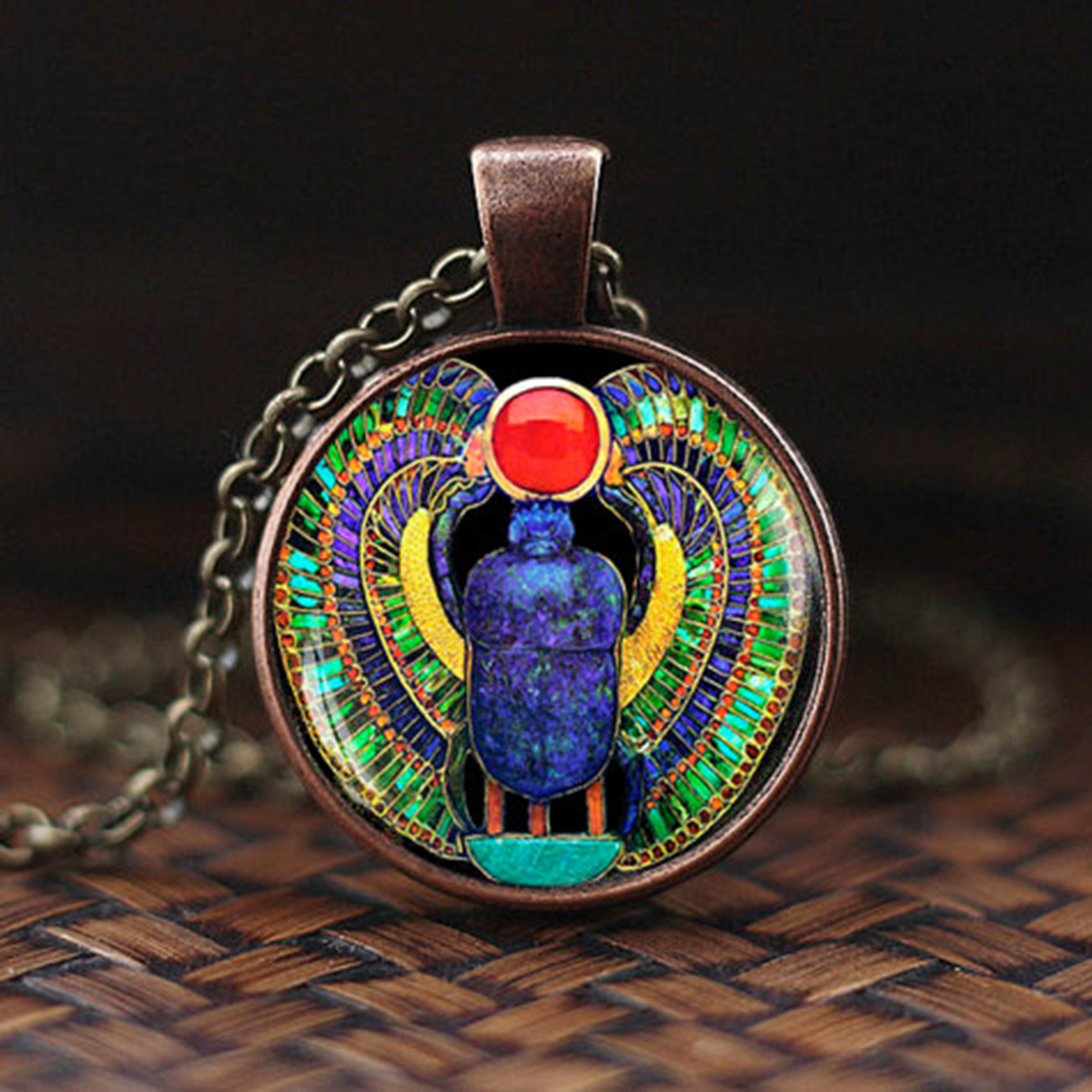 Necklace for Men Symbol Of Strength Egyptian Scarab Glass Dome Pendant Necklace Ancient Egypt Jewelry Fashion Charm Women Gift