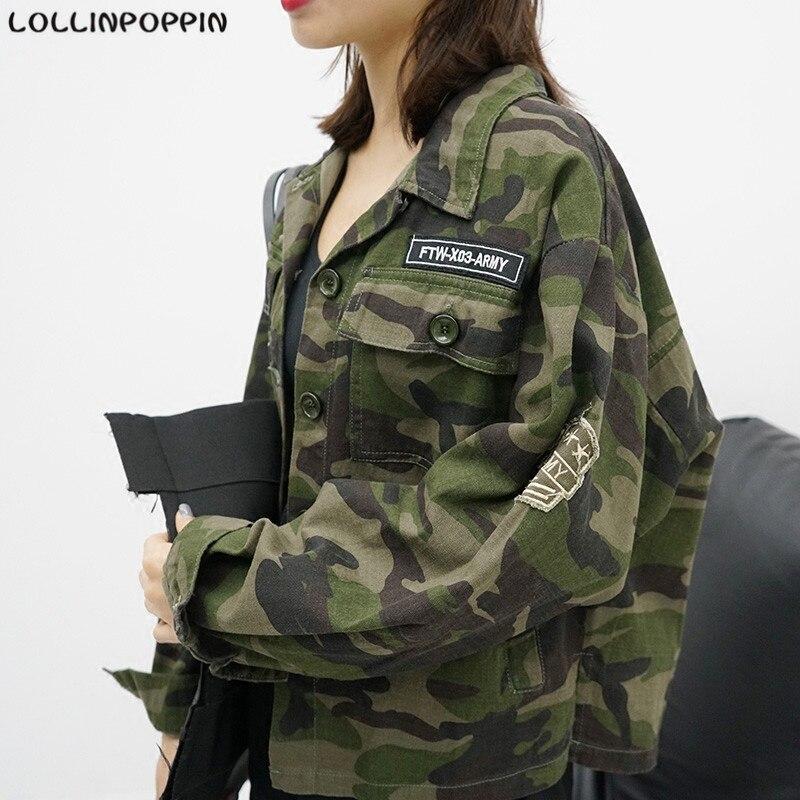 Las mujeres de Gran Tamaño Chaqueta de Camuflaje Estilo Militar Del Ejército Cha