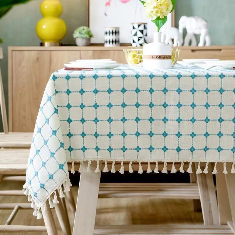 Blue Flower Retro Lace Tablecloth Chinese Style Cotton Table cloth Rectangular Dinning Table cloth for table Picnic