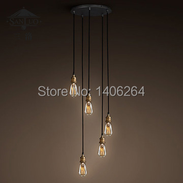 Edison Vintage Loft Industrial Loft Nordic 5 light Pendant Ceiling Lamp For Cafe Bar Store Dining Room Club Coffee Shop Decor loft vintage industrial pendant light fixtures copper glass shade pendant lamp restaurant cafe bar store dining room lighting