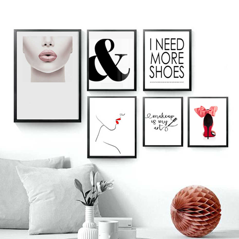 Modern Fashion Makeup Canvas Paintings Wall Art Eyelash Lipstick Awesome Poster Print Picture for Living Room Home Decoration