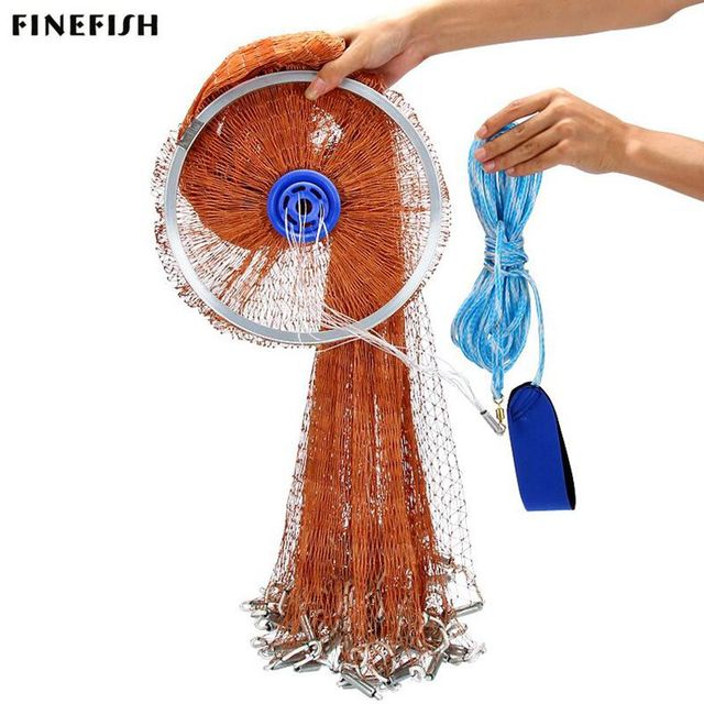 Finefish USA Cast Net 2.4  4.8M With Sinker Outdoor Water Sports Hand Throw Network Small Mesh Fishing Net