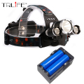 3 LED Headlight 9000 Lumens Cree XM-L T6 Head Lamp LED Headlamp +2pcs 18650 battery Charger