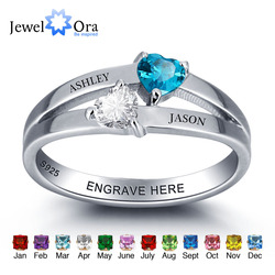 Personalized 925 Sterling Silver Double Heart Birthstone Ring DIY Name Ring Customize Jewelry Unique Gift (JewelOra RI101976)