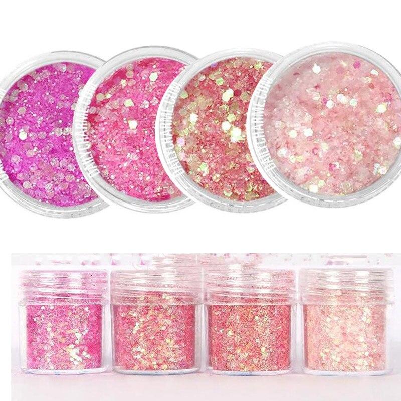 4 Box (10ML box) Nail Art Acrylic Gel Glitter PinK Gradient mixed glitter Powder for Decoration/jewelry making , MA0-1