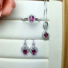 shilovem 925 sterling silver Natural tourmaline Rings pendants earrings fine Jewelry women wedding new open 4*5mm ctz040503agx