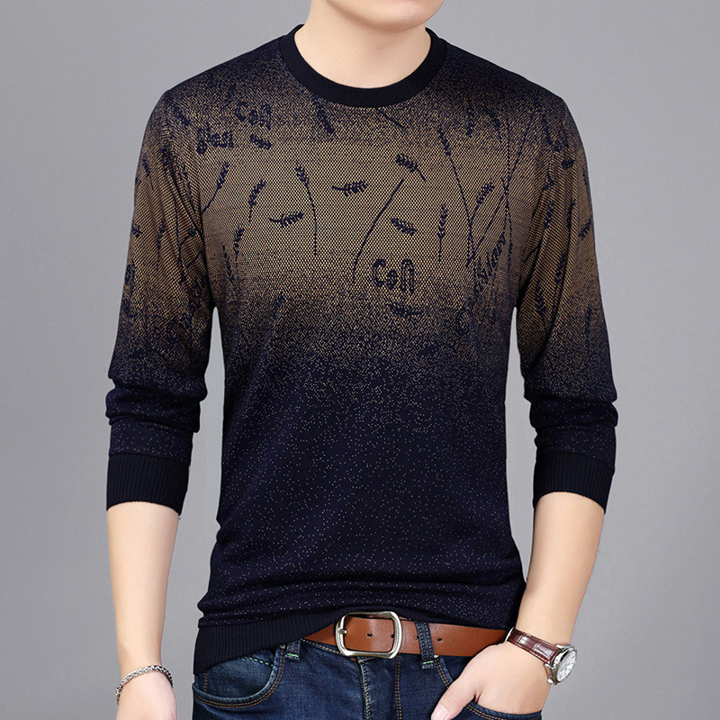 Men Sweater Winter Warm Casual Slim Fit Knitted Long Sleeve Patchwork Pullover