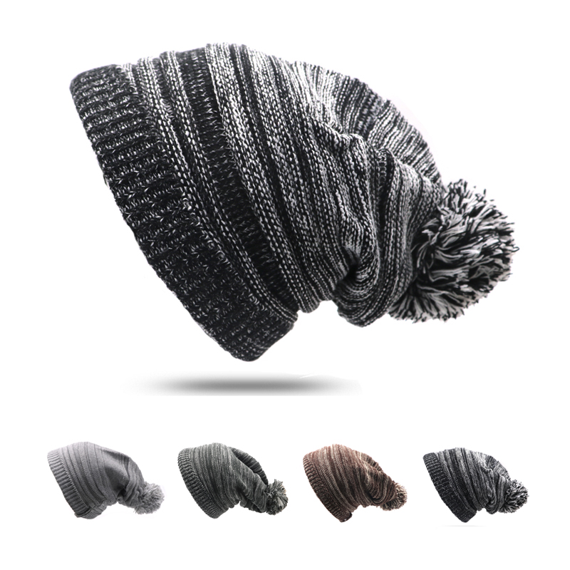Skritts Pompom Women s Hat Hip Hop Winter Hat for Girls Female Skullies  Beanie Knitted Hats for Women Men Unisex Warm Caps c94a6167da8
