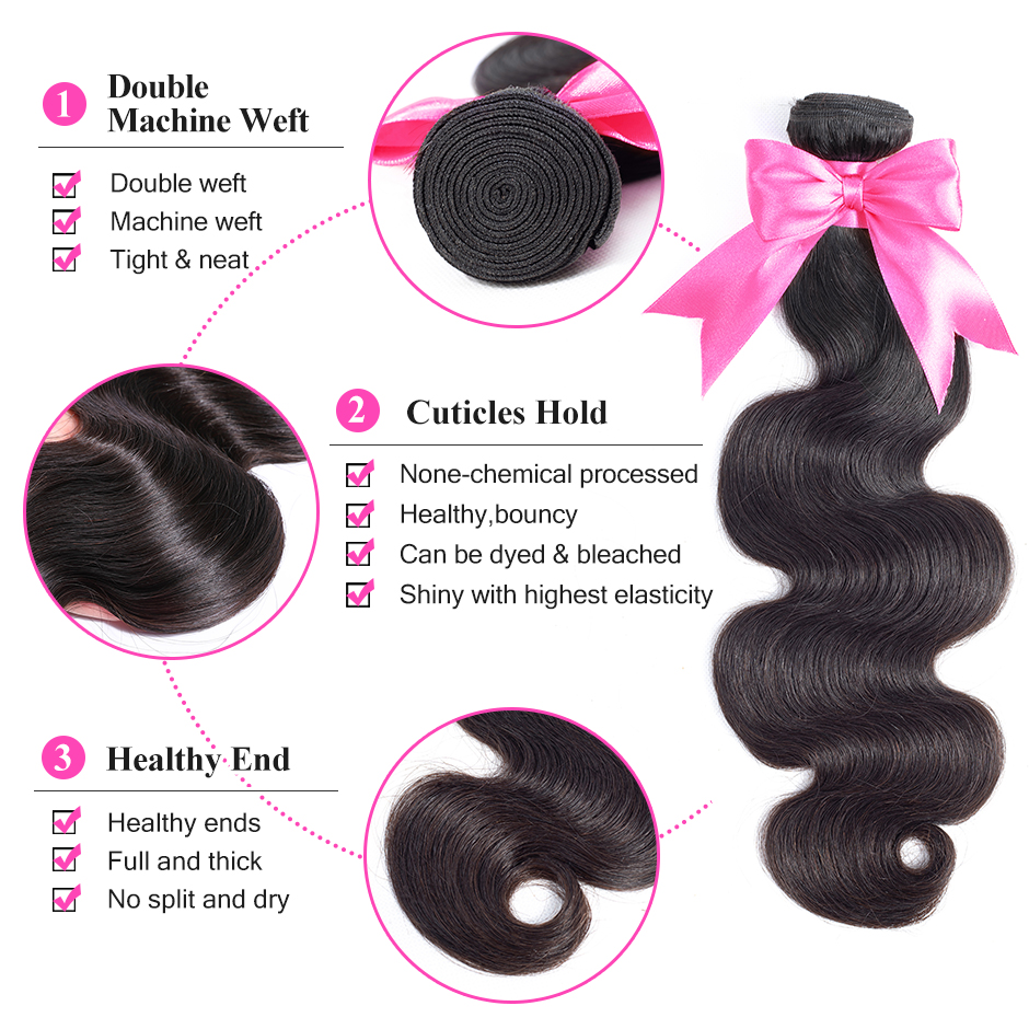 ISEE HAIR 3 Bundles Brazilian Body Wave Hair Extension Remy - Mänskligt hår (svart) - Foto 2
