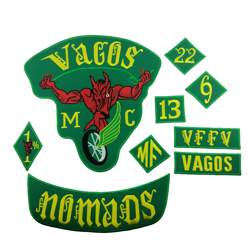 Vagos <font><b>MC</b></font> <font><b>Patch</b></font> Nomad Biker <font><b>1</b></font>% Embroidered <font><b>Patches</b></font> Set Motorcycle Free Rider Full Back Custom Badges for Jacket Large Size Emblem image