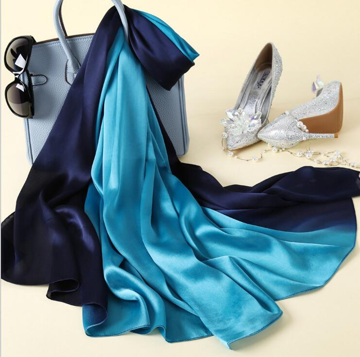 Desain baru Merek Mewah Padat sutra Musim Panas Syal Gradien Dip dye - Aksesori pakaian - Foto 3
