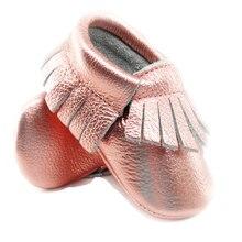 Розовые, золотые, из натуральной кожи, детские мокасины, мягкая обувь для маленьких девочек, обувь для малышей, обувь с бахромой, 0-30 месяцев, 16 цветов