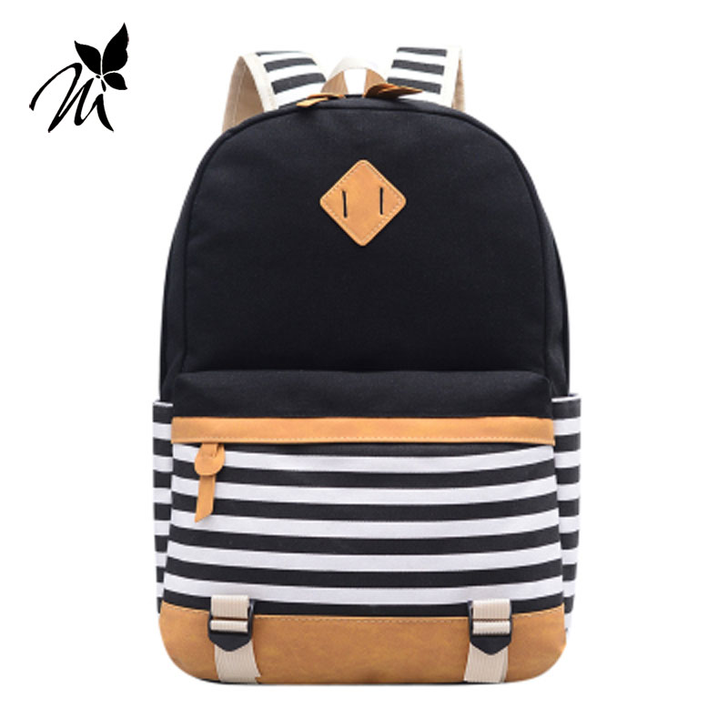 The new spring and summer 2017 han edition canvas belt naval stripe backpack backpack female bag bag high school students qiu dong season with plush slippers female students in the summer of 2017 the new han edition joker fashion wears outside a word