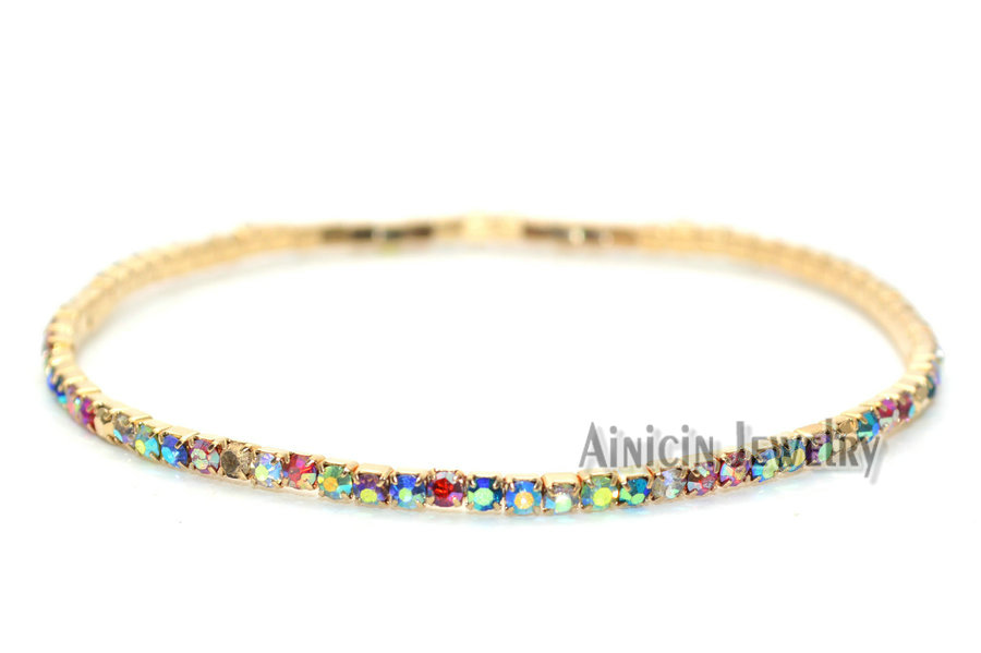 2mm Wide Rainbow Rhinestone Crystal Stone Prong Setting Stretch Tennis Bracelets For Women Gift Jewelry 1pc lot in Chain Link Bracelets from Jewelry Accessories