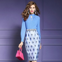 高級デザイナードレス 2019 春の新作セクシーな花スリムパーティードレスプラスサイズのオフィスの女性長袖シャツ夏ドレス