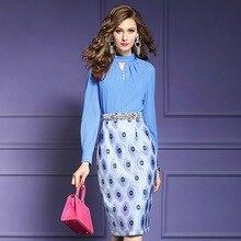 Luxe Designer jurk 2019 nieuwe Lente Vrouwen sexy Bloem Slanke Feestjurk Plus Size Office Lady Lange mouwen zomer jurken