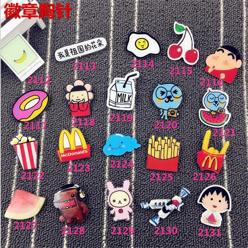 Acrylic HARAJUKU cartoon creative costumes Badge fries McDonald Collar Tips Enamel watermelon XZ71 ...