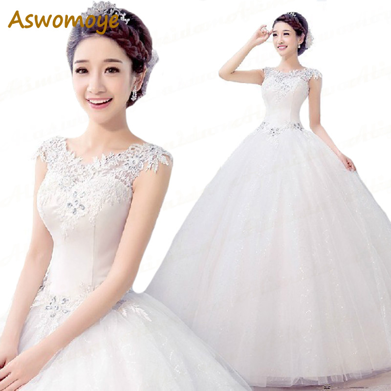 2017 New White Sexy fashion Flower Bride Wedding Dress Romantic Princess Lace  Dress Wedding Dresses Plus a4a9f7747264