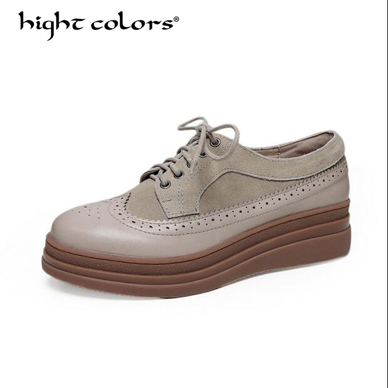 Fashion 2018 Women Flat Platform Brogue Shoes Cow Suede Lace up Round Toe Ladies Beige Brown Oxford Creepers Casual Shoes KK333 цена