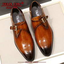 Новинка года; итальянские модные мужские туфли; Цвет черный, коричневый; мужские туфли из натуральной кожи без шнуровки с пряжкой на ремешке; Мужская официальная обувь