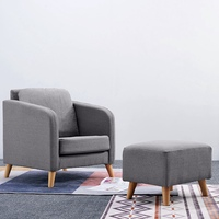 Fabric Linen Upholstered Accent Tub Chair Cushion Sofa with Footstool Ottoman Chaise Lounge Dropshipping