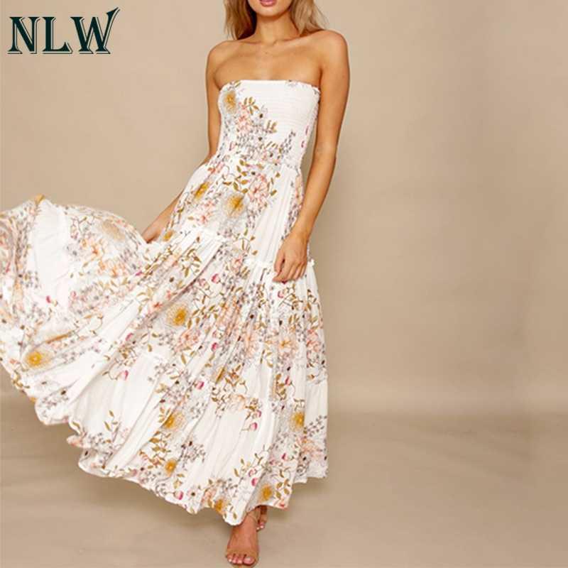 NLW белый цветочный принт с открытыми плечами платье с оборками Бохо без бретелек летние пляжные макси длинные платья сексуальные вечерние платья