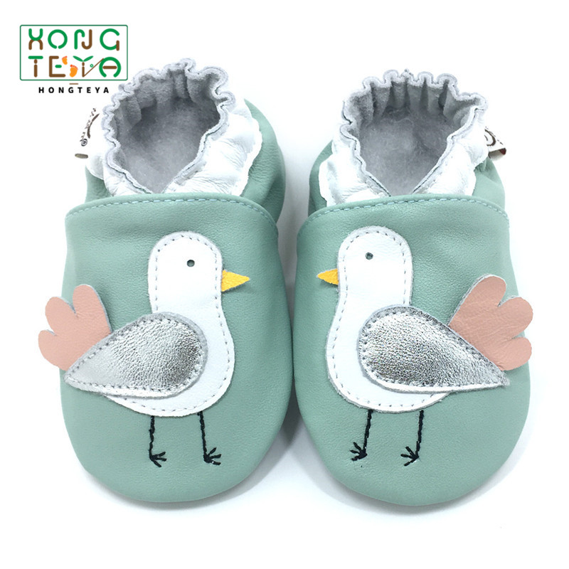 Cartoon Pattern Genuine Leather Newborn Baby Moccasins Infant Toddler Baby Girl Boy First Walkers Soft Sole Non-slip Prewalkers