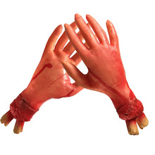 Fake Blood Hand Spoof Toy Halloween Horror Props Simulatio Broken Skeleton Exposed Hand Festival Party Decorations Tricky Toy