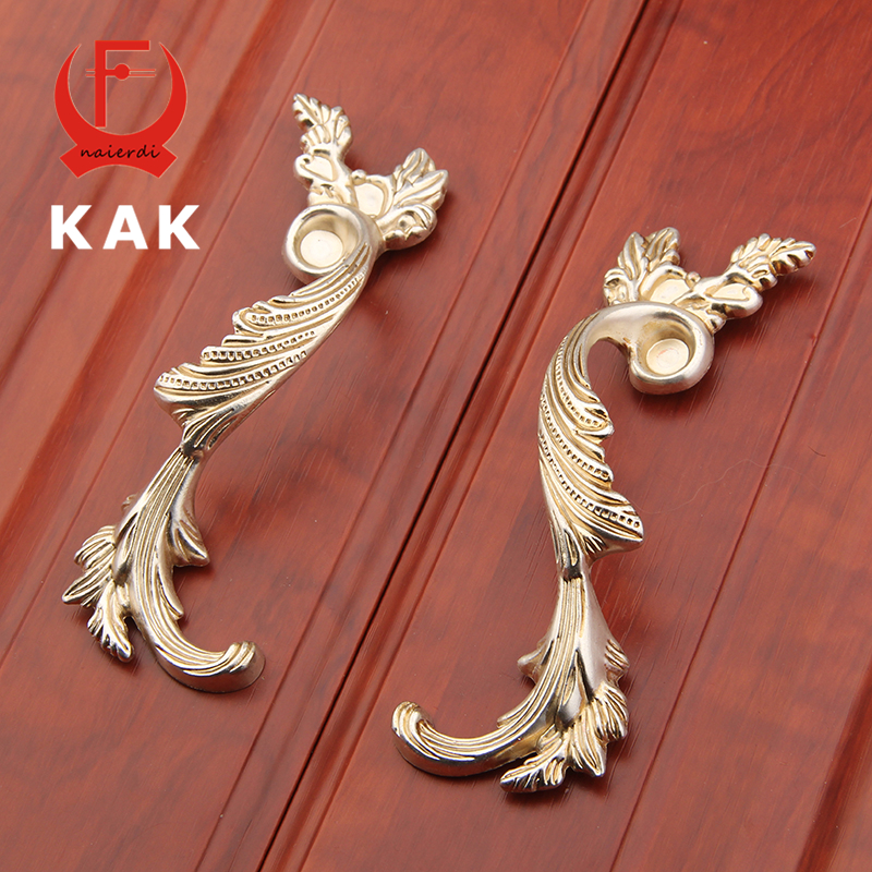 KAK 96MM Antique Brass Wardrobe Door Pulls Vintage Handles Knobs European Style Cabinet Knobs Kitchen Handle Furniture Handle 96mm cabinet handles palace euro style furniture ivory with 24k golden knobs closet door handle drawer pulls bars