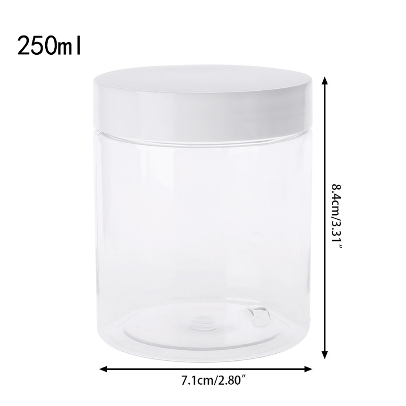 250ml Empty Plastic Container For Slime Foam Light Clay Organizer Makeup Jar Nail Box Cosmetic Pot Cream Bottle Food Storage Can
