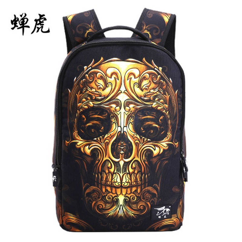 Fire skull head 3D shoulder backpacks skeleton print school bags for teenagers punk style day back