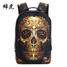 Fire skull head 3D shoulder backpacks skeleton print school bags for teenagers punk style day back packs mens traveling