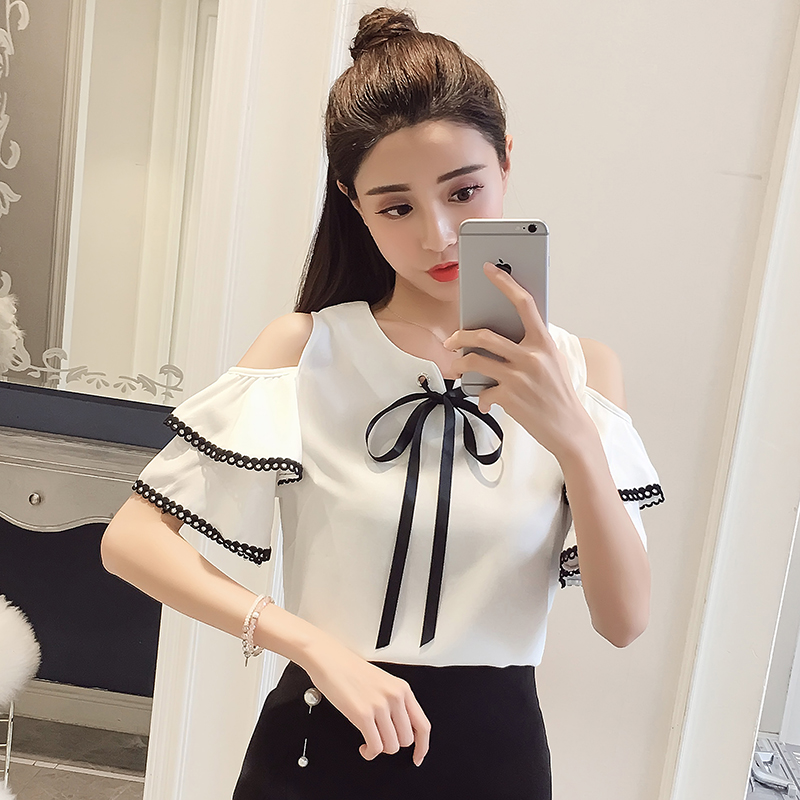 2018 new summer short sleeved blouses chiffon clothing bow casual preppy style sweet women tops butterfly sleeve blouses D694 30