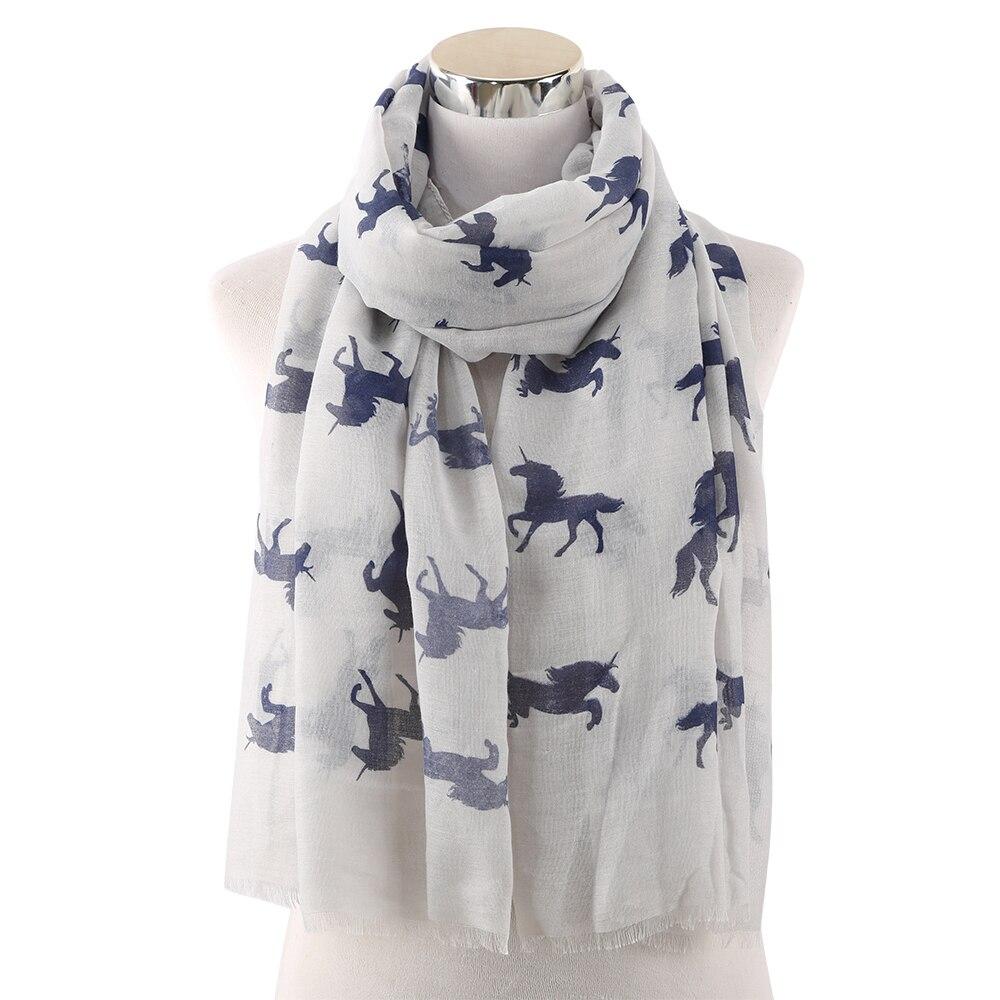 Winfox Fashion Unicorn Horse Print Long Female   Scarf     Wrap   Shawl Women Ladies   Scarves