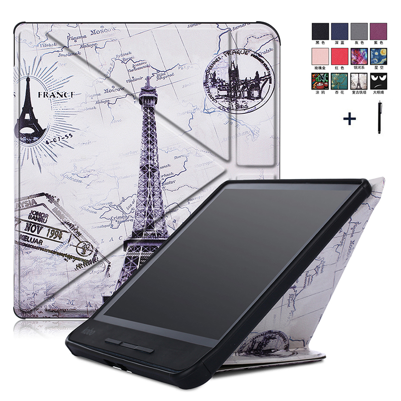 Case For Kobo Forma 8'' Printed Transformers Stand Flip Leather Cover For KOBO Forma 8 Inch Capa Fundas+Stylus